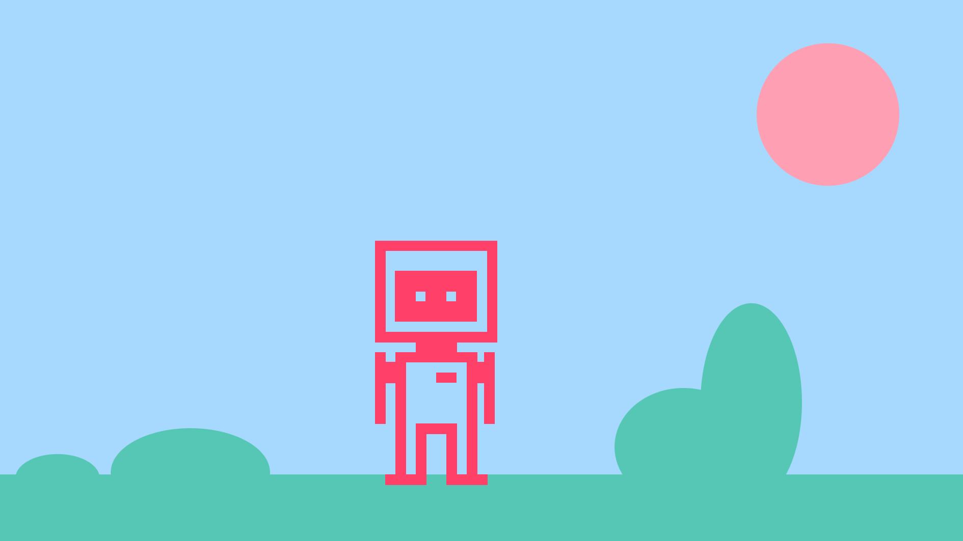 robot I pixelformat står på en gräsäng med buskar