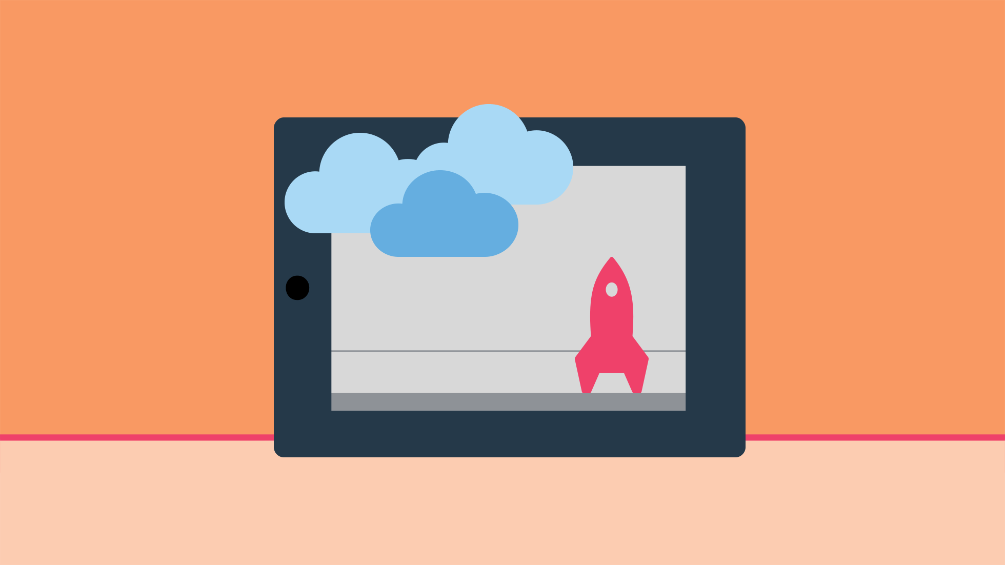 illustration med moln och raket samt digital enhet