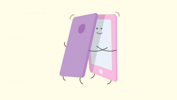 Två mobiltelefoner kramas