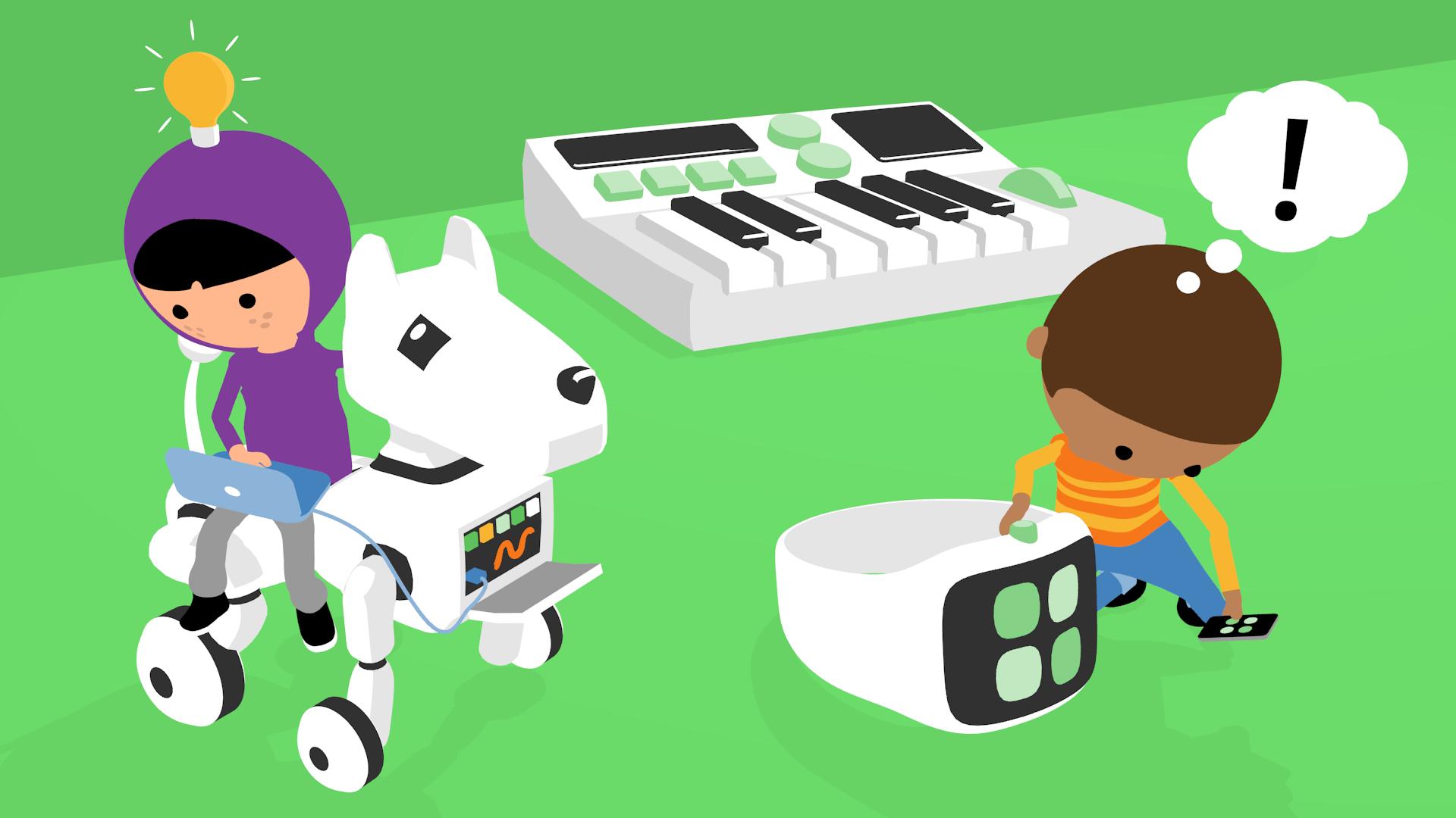 illustration av barn som undersöker smarta prylar