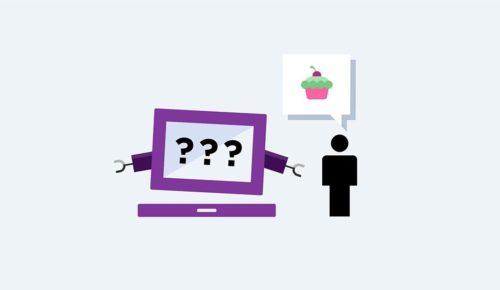Illustrerad dator med frågetecken