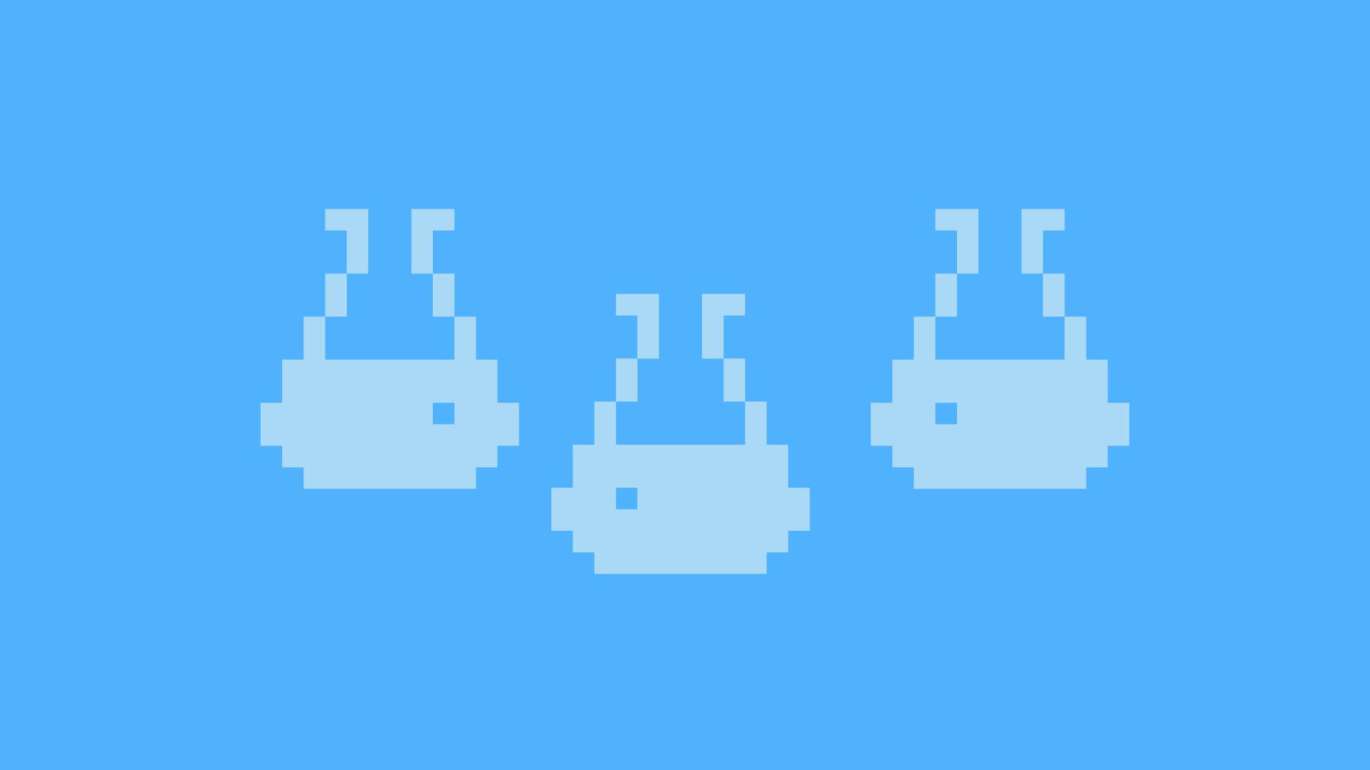 Pixelfigurer på blå bakgrund