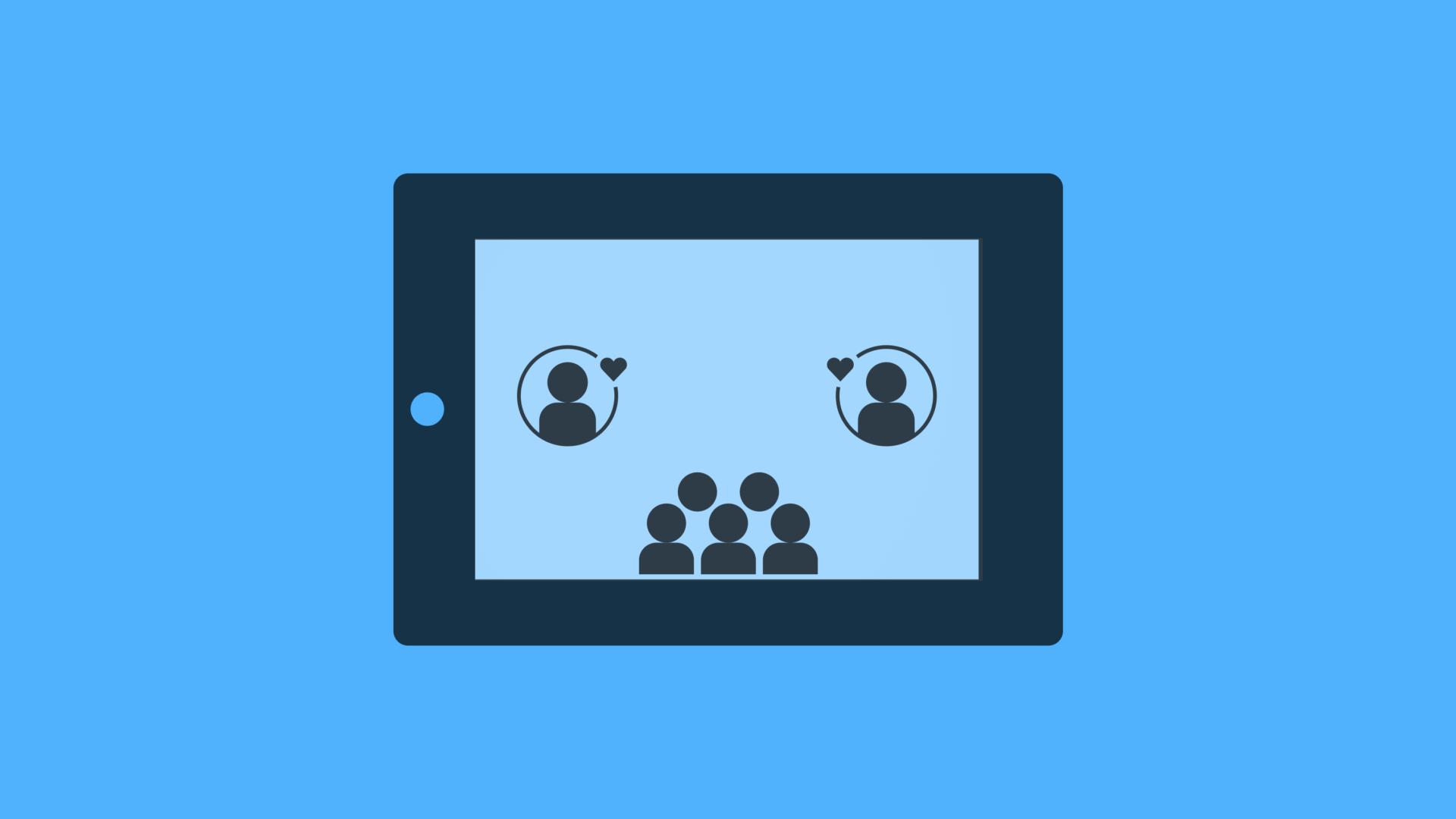 illustration av skärm med symboler av personer som finns i ett digitalt sammanhang