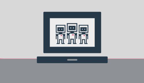 robotar på skärm