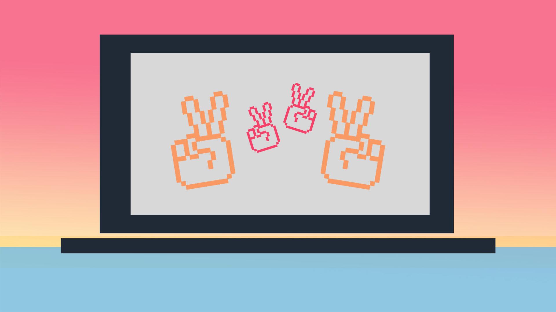 skärm med pixliga fingrar som gör v-tecknet