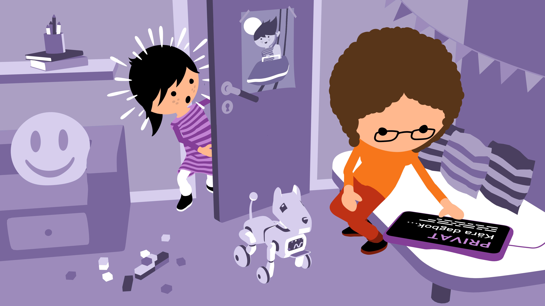 en illustration av ett barn som tittar på en vuexn som tjuvkikar på en digital platta