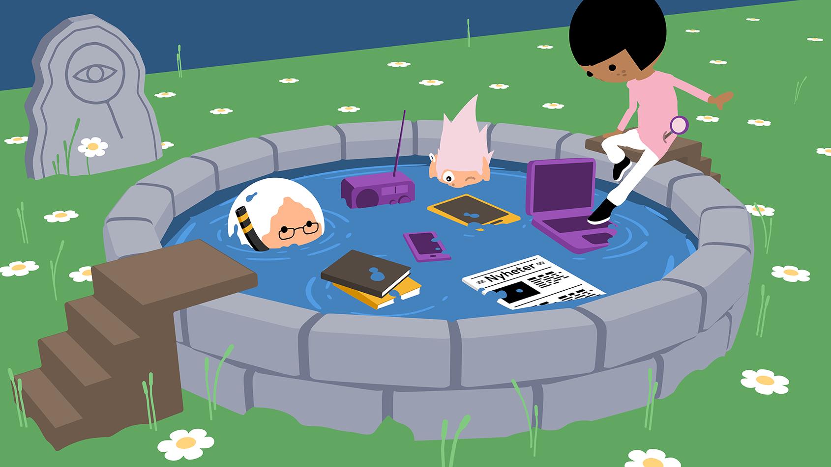 en illustration av en källa med källor och ett barn som prövar dessa genom att ta sig över källan