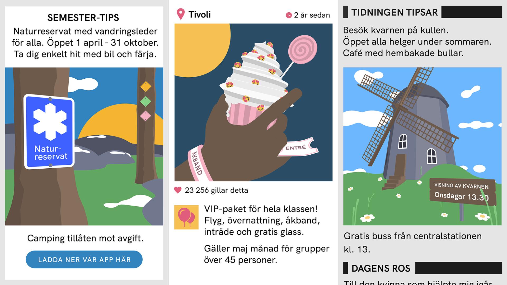 illustration av tre utflyktsmål på tre fiktiva digital källor